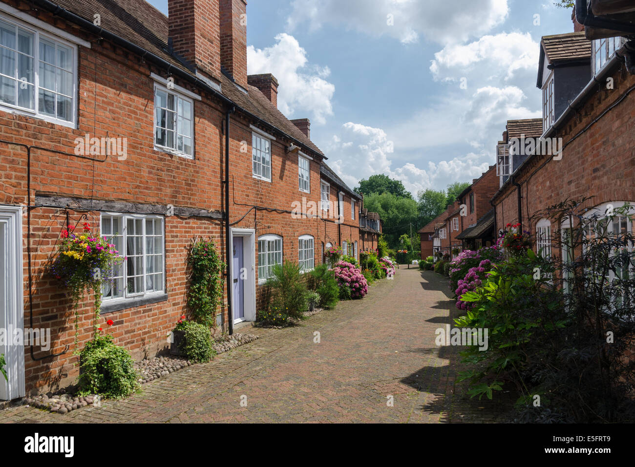 Malt Mill Lane in the Warwickshire town of Alcester contains a number of preserved Tudor houses - Stock Image