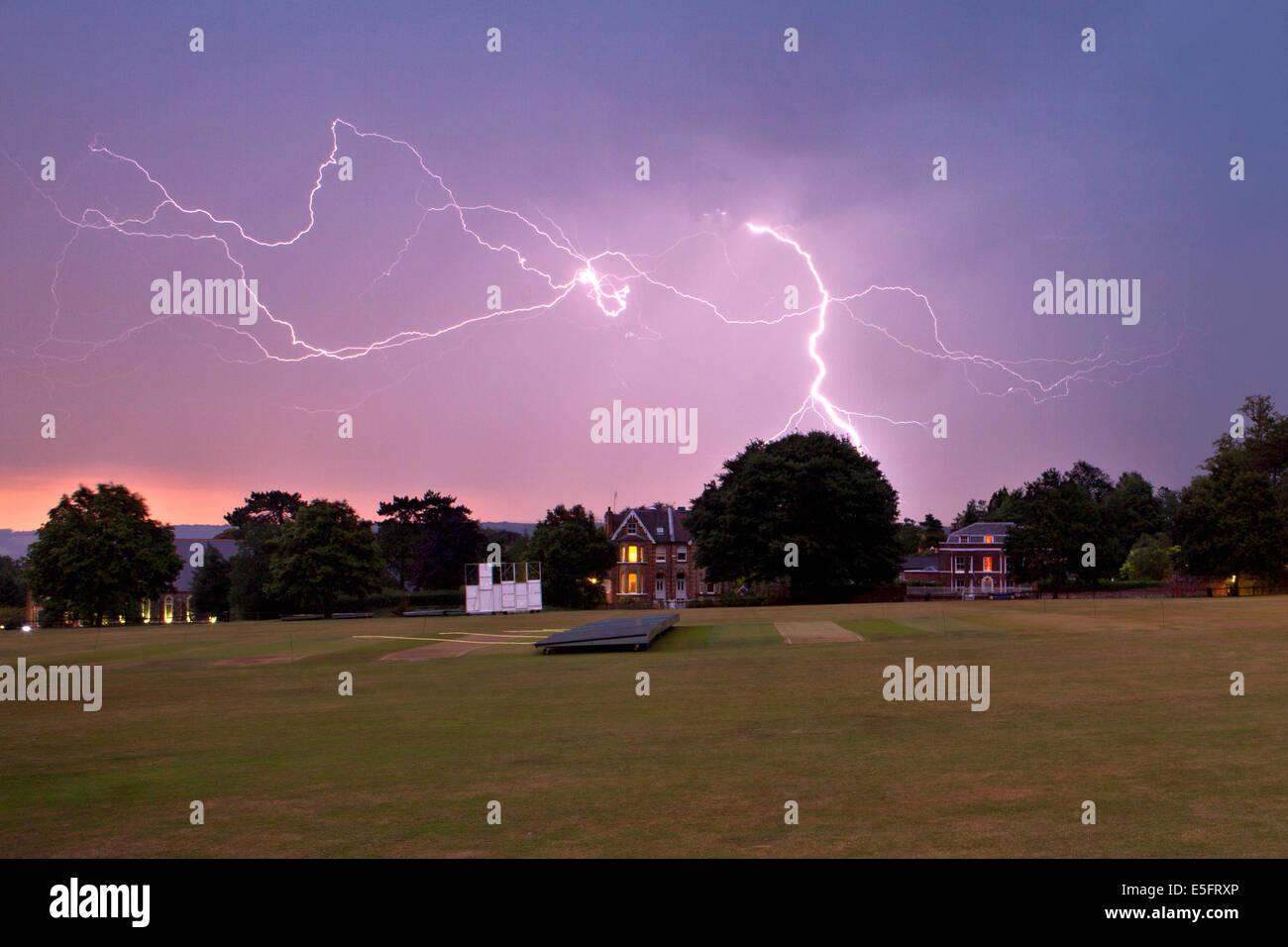 Lightning storm at dusk, The Vine cricket ground, Sevenoaks, Kent Stock Photo