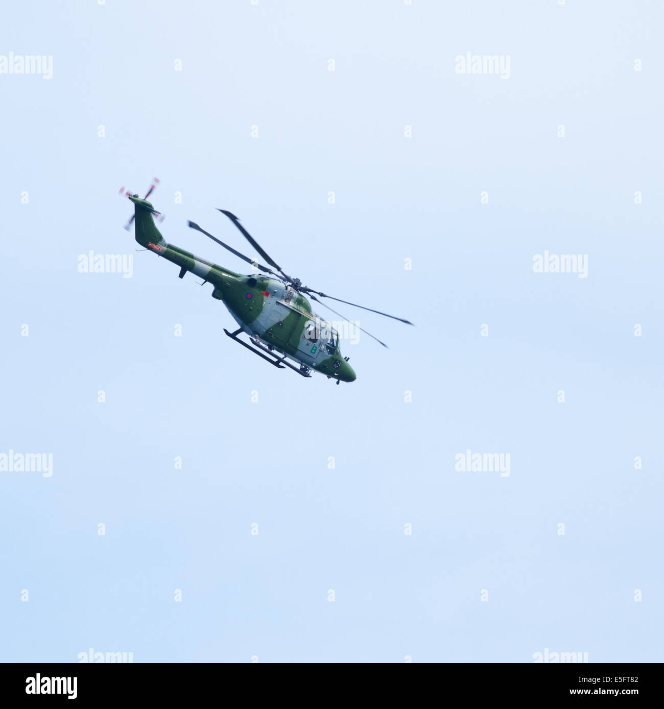 A British Army Lynx Helicopter flying at Sunderland 2014 - Stock Image