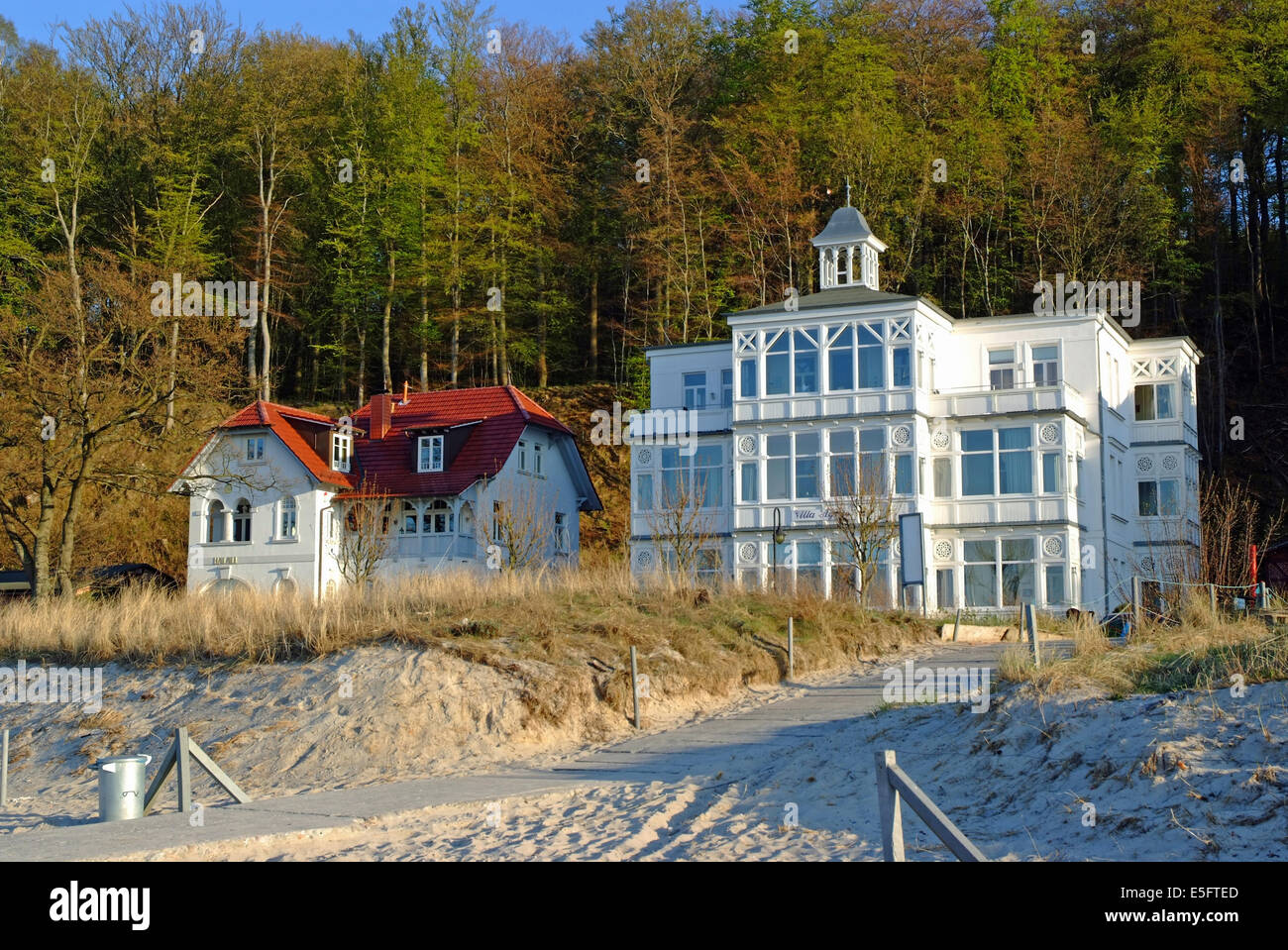 Holiday apartments in a typical white villa on Baltic Sea  -  Ruegen Mecklenburg-Western Pomerania Germany - Stock Image