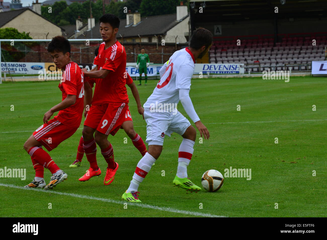 Derry, Londonderry, Northern Ireland. 30th July, 2014. Milk Cup Elite Section, Canada v China. Canada's Dylan - Stock Image