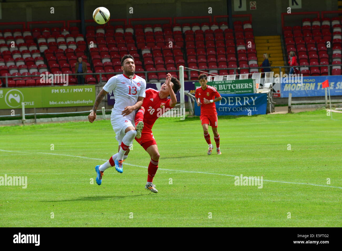 Derry, Londonderry, Northern Ireland. 30th July, 2014. Milk Cup Elite Section, Canada v China. Canada's Sadi - Stock Image