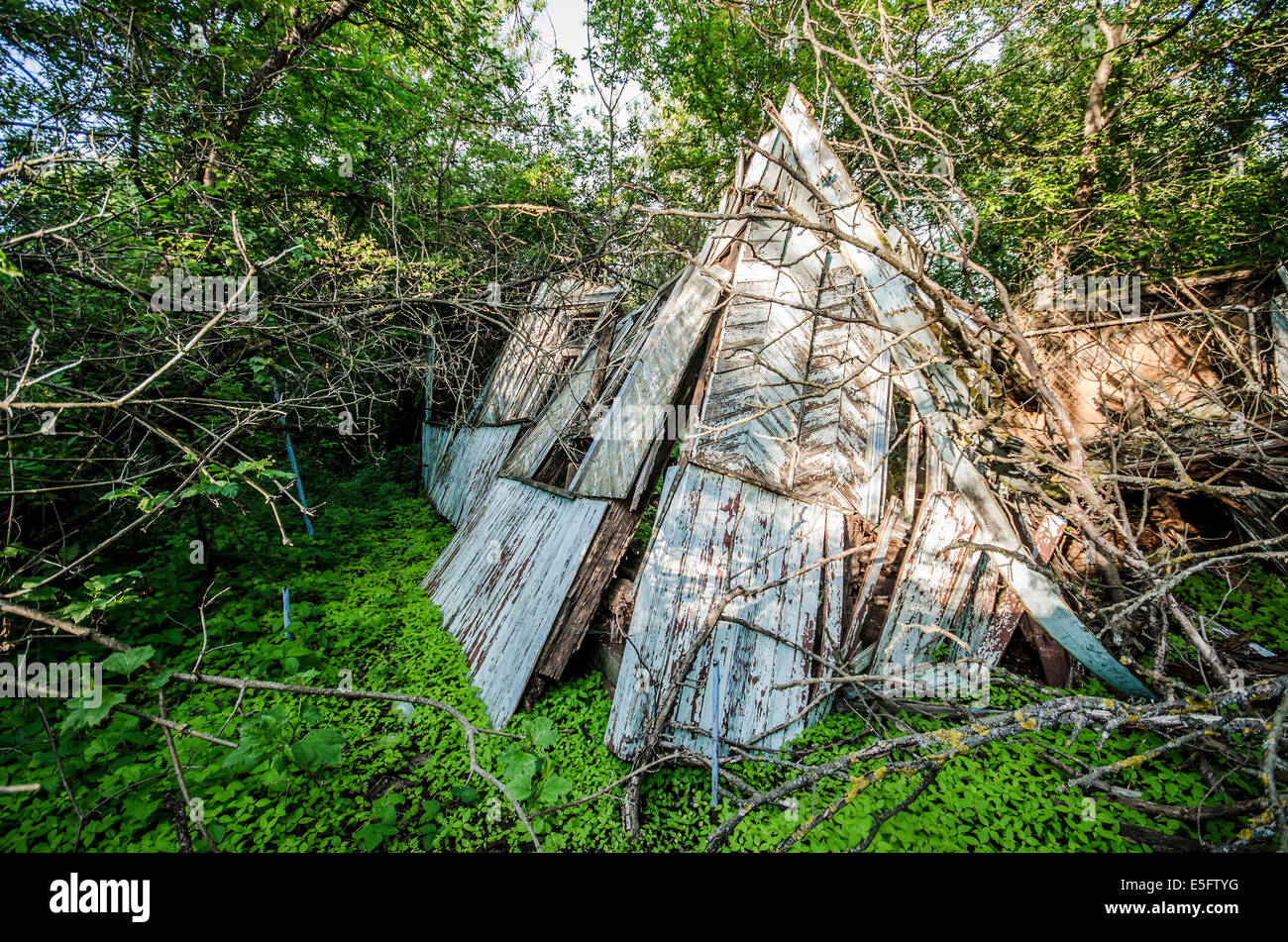 Pripyat ghost town in the Chernobyl exclusion zone, Ukraine - Stock Image