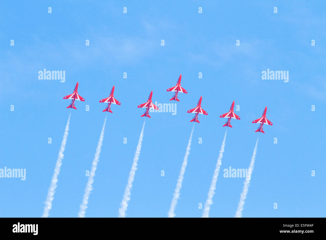 The RAF Red Arrows aerobatic display team flying at Sunderland, 2014 - Stock Image