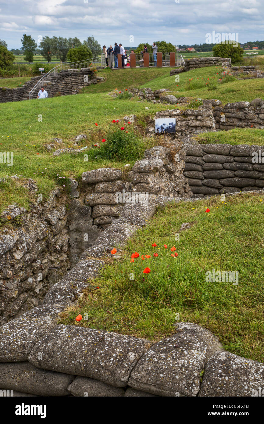 Dodengang / Boyau de la Mort / Trench of Death, First World War One trenches along the river IJzer, Diksmuide, Belgium - Stock Image