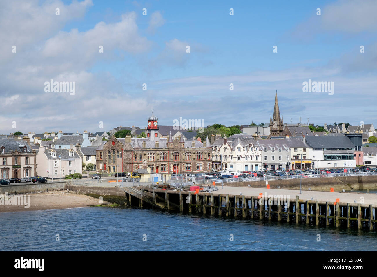 Offshore view back to town hall on waterfront from harbour in Stornoway Isle of Lewis Outer Hebrides Western Isles - Stock Image