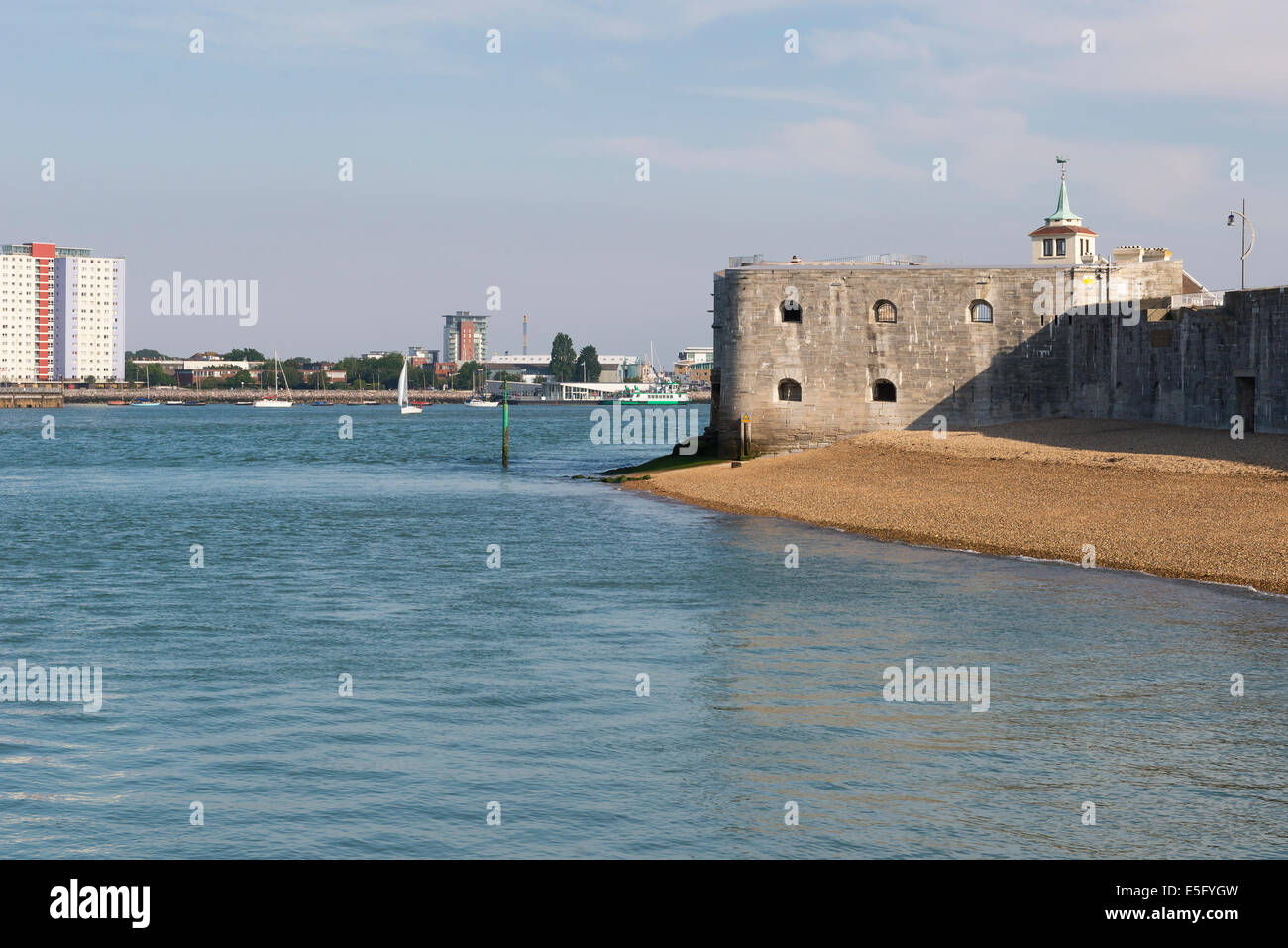 view looking across from old portsmouth to gosport  showing the gosport skyline and part of the old armaments  in - Stock Image