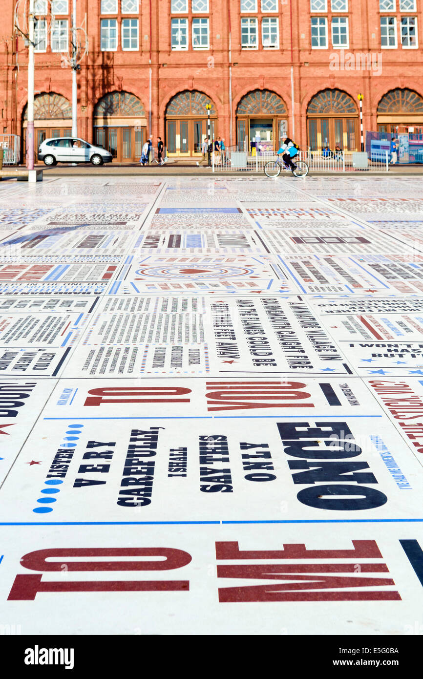 The Comedy Carpet, comedians catchphrases displayed on the promenade outside Blackpool Tower, Golden Mile, Blackpool, Stock Photo