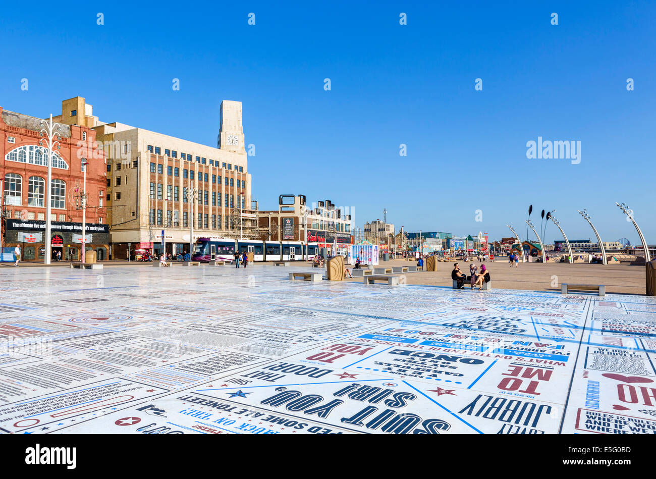 The Comedy Carpet, comedians catchphrases displayed on promenade outside Blackpool Tower, The Golden Mile, Blackpool, Stock Photo