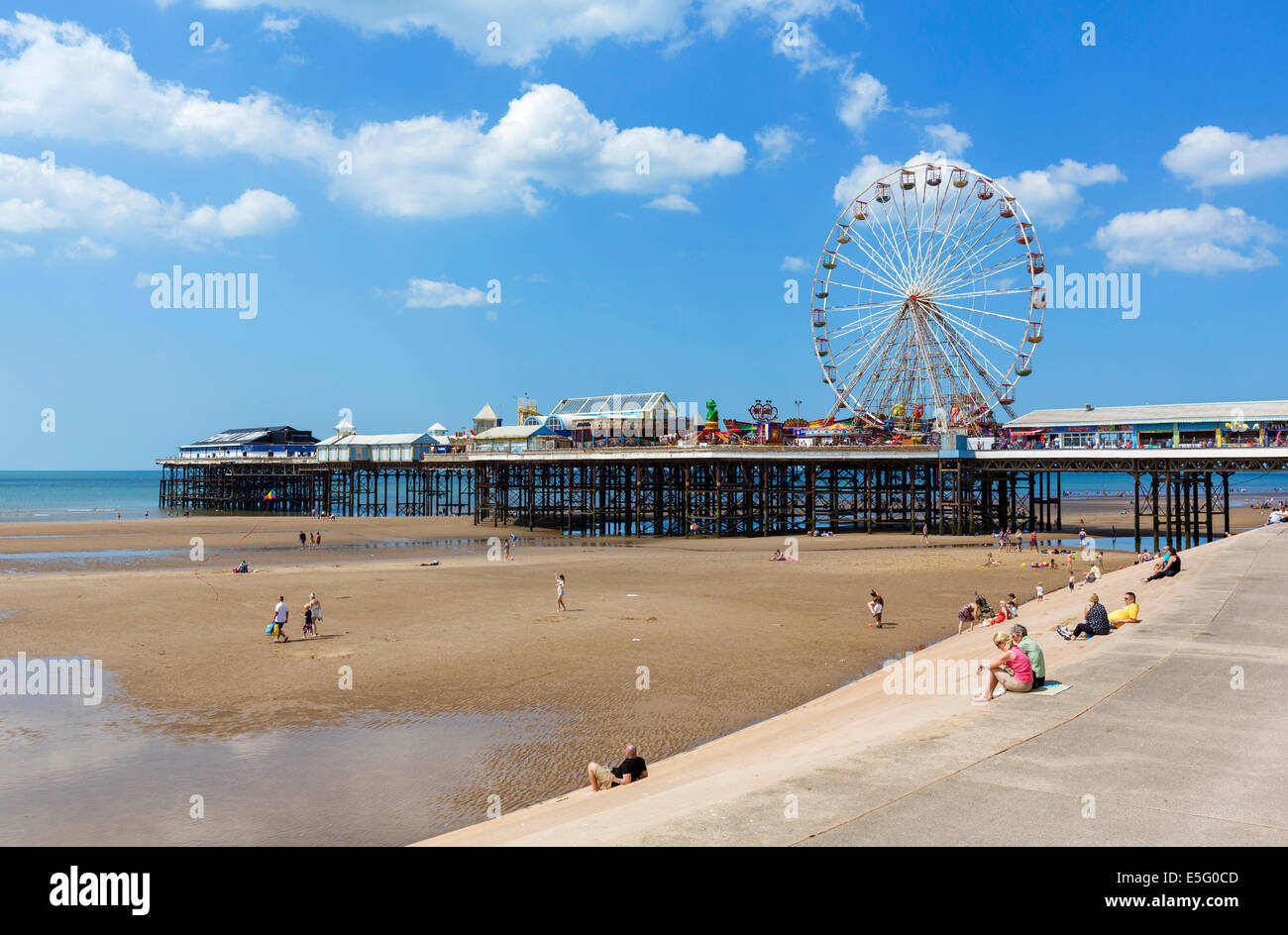 Central Pier, The Golden Mile, Blackpool, Lancashire, UK - Stock Image