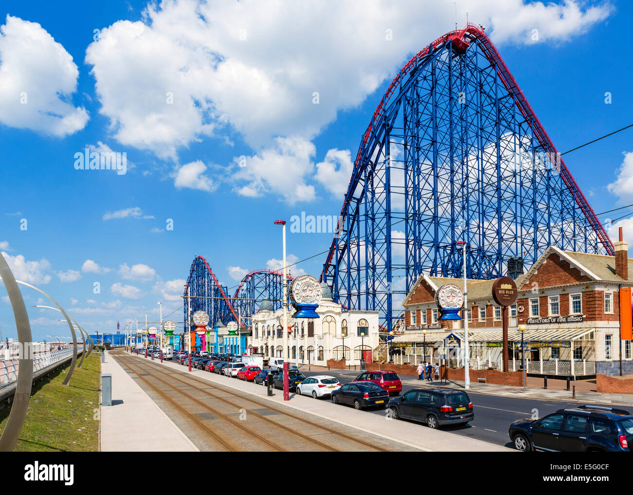 The Big One roller-coaster at the Pleasure Beach amusement park, Blackpool, Lancashire, UK - Stock Image