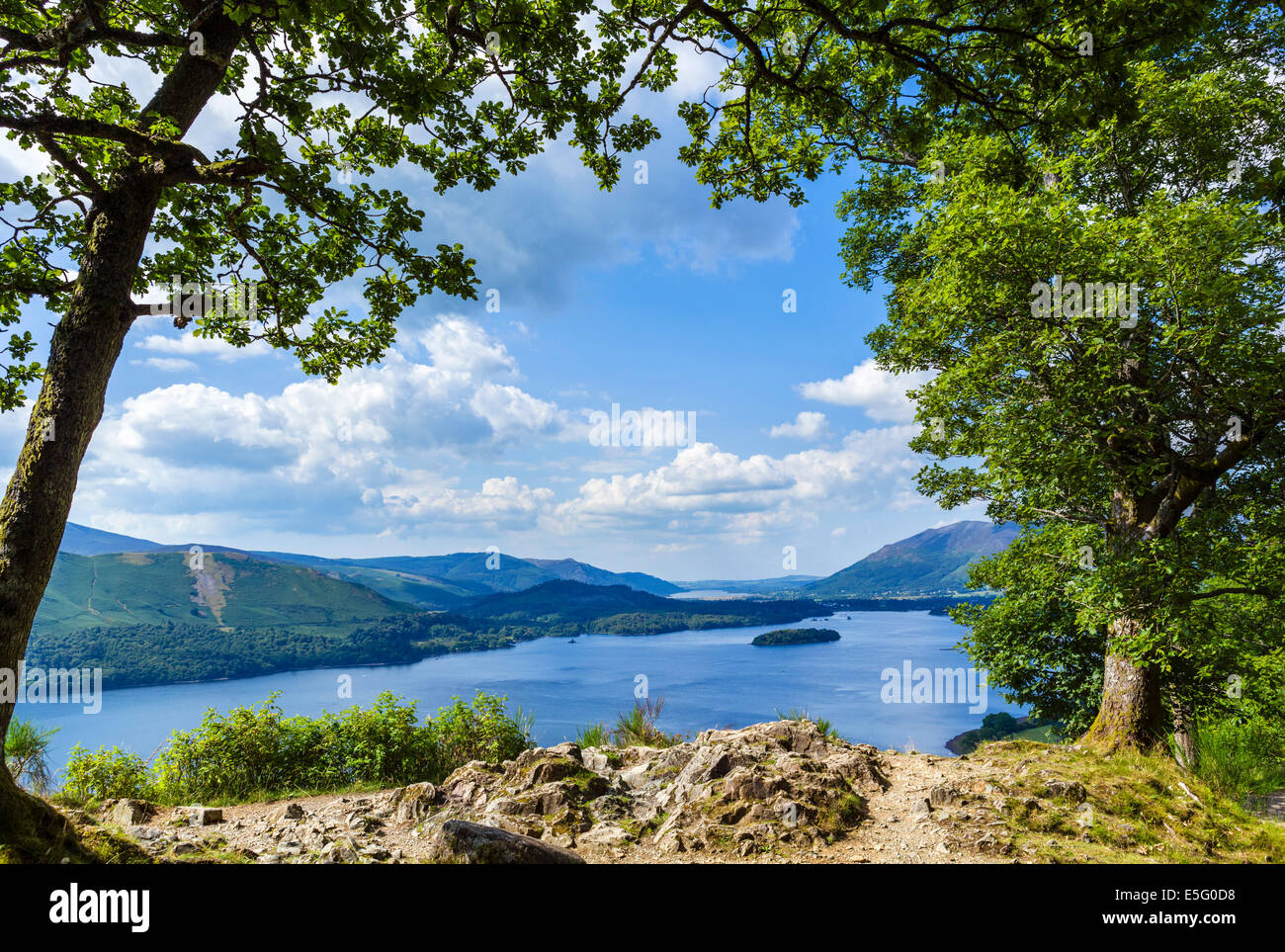 View over Derwentwater from Ashness, Borrowdale, Lake District, Cumbria, UK - Stock Image