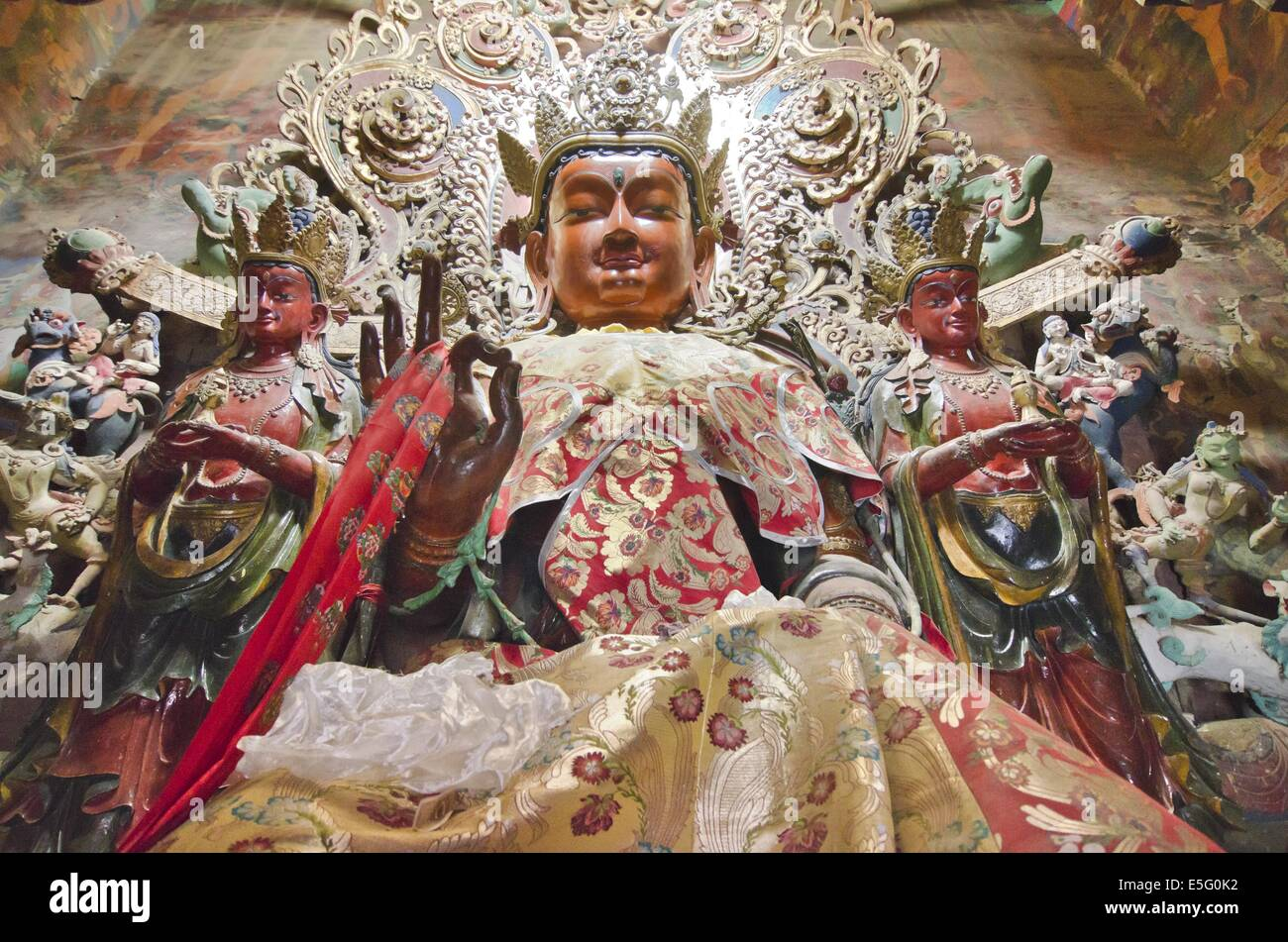 Tara statue in the Gyantse Kumbum, a multi-storied aggregate of Buddhist chapels, in Tibet - Stock Image
