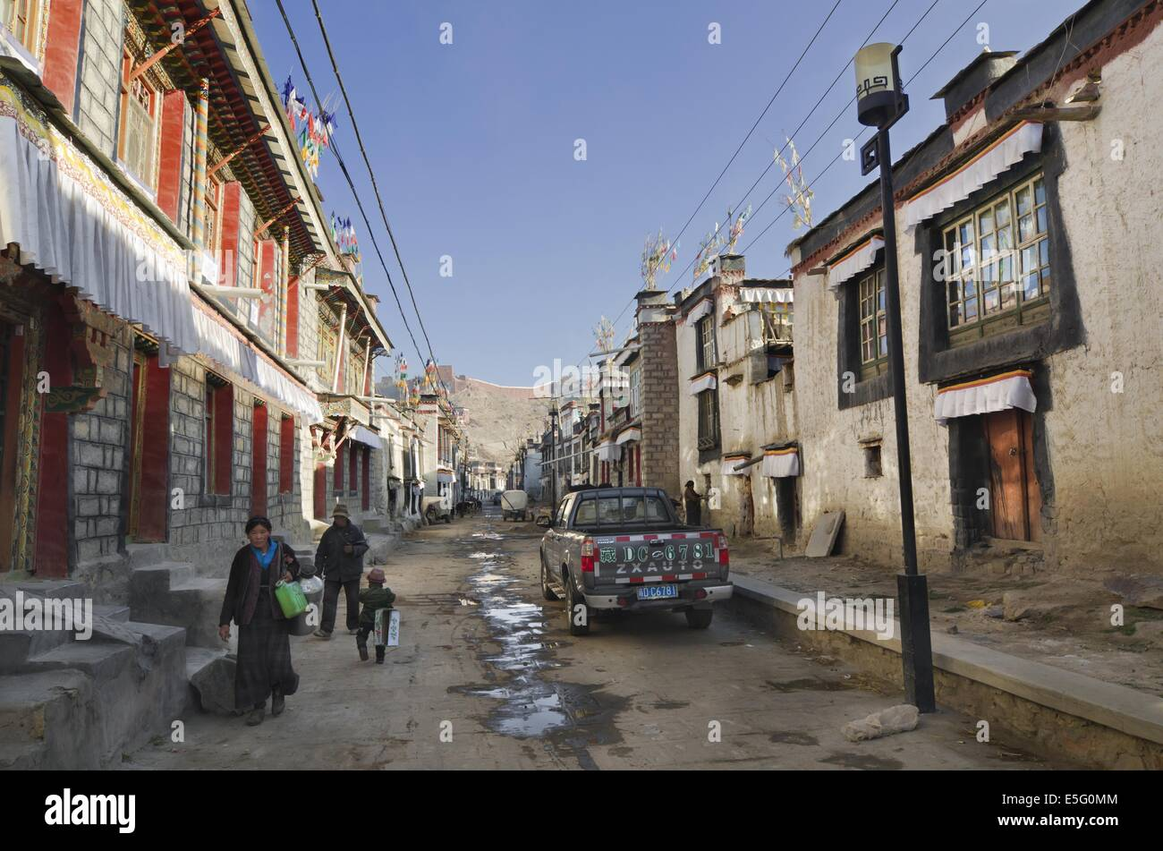 Historic district of Gyantse in Tibet - Stock Image
