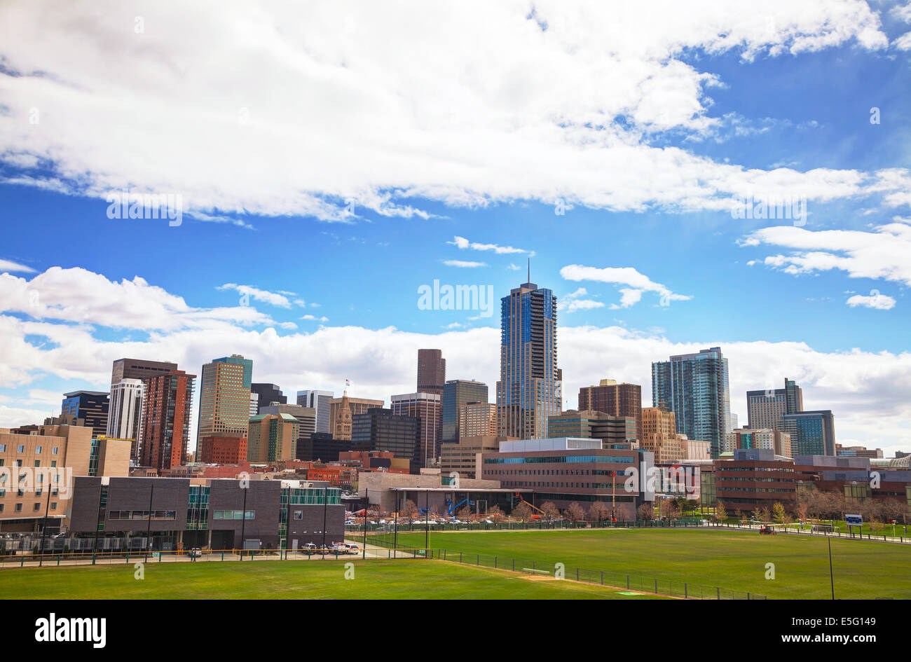 Downtown Denver cityscape on a sunny day - Stock Image