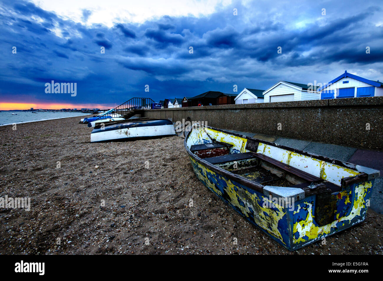 Southend-on-Sea beach at stormy evening. - Stock Image