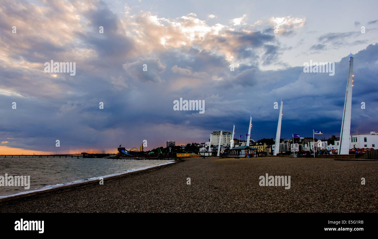 View of storm above sea and beach in Southend-on-Sea at evening. - Stock Image