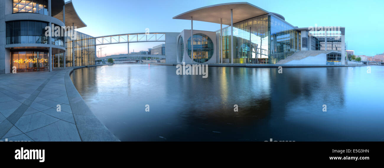 Wide panorama of the government building district in Berlin Mitte, the capital of Germany. Stock Photo