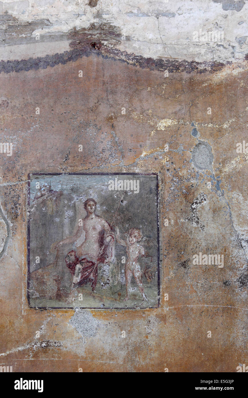 Original ancient frescoes in Pompeii,Naples, Italy Stock Photo