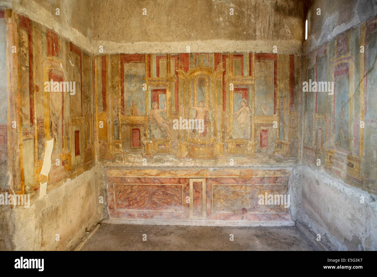 Original ancient frescoes in the House of Apollo, Pompeii, Naples, Italy - Stock Image