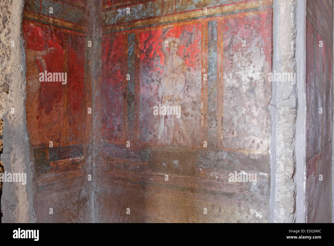 Original paintings in the Villa of the Mysteries, Pompeii, Naples, Italy - Stock Image