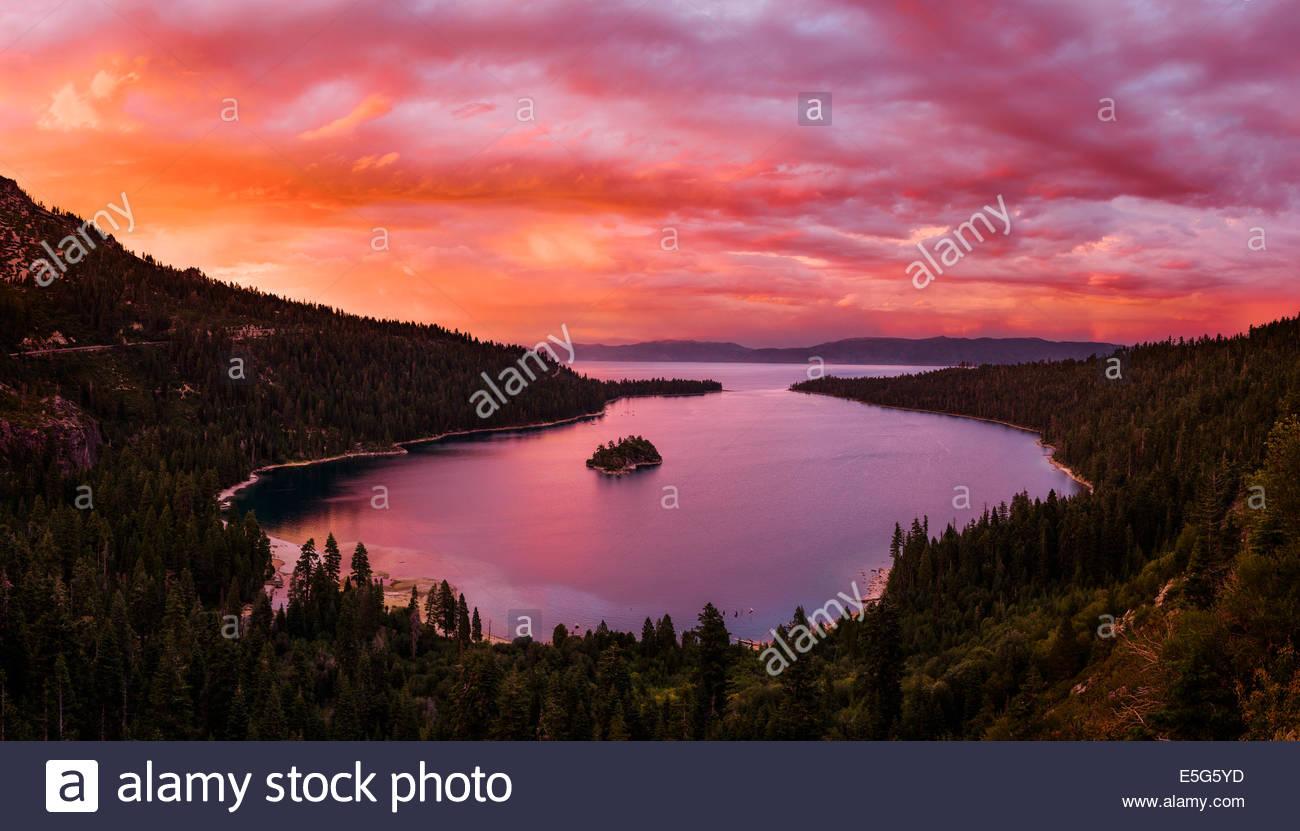 Beautiful sunset over Emerald Bay in Lake Tahoe, California Stock Photo
