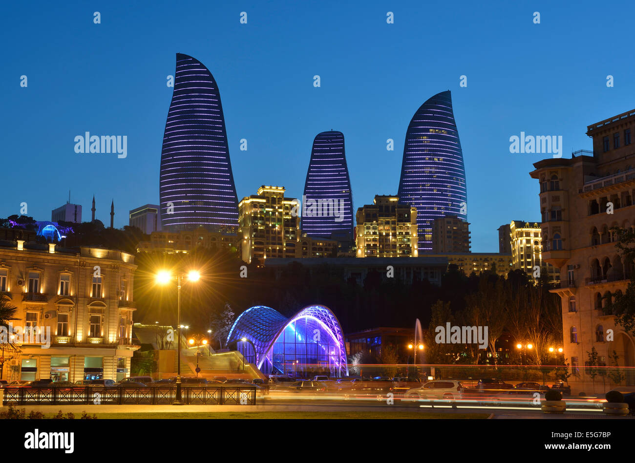 Flame Towers at dusk, Baku, Azerbaijan - Stock Image