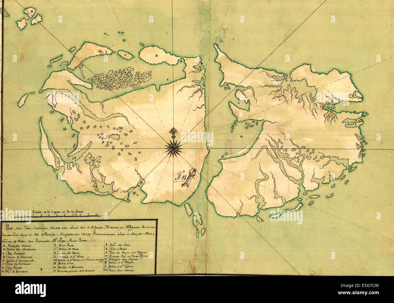 e65542c34 Map of the Falkland Islands, or the Malvinas, circa 1700 Stock Photo ...