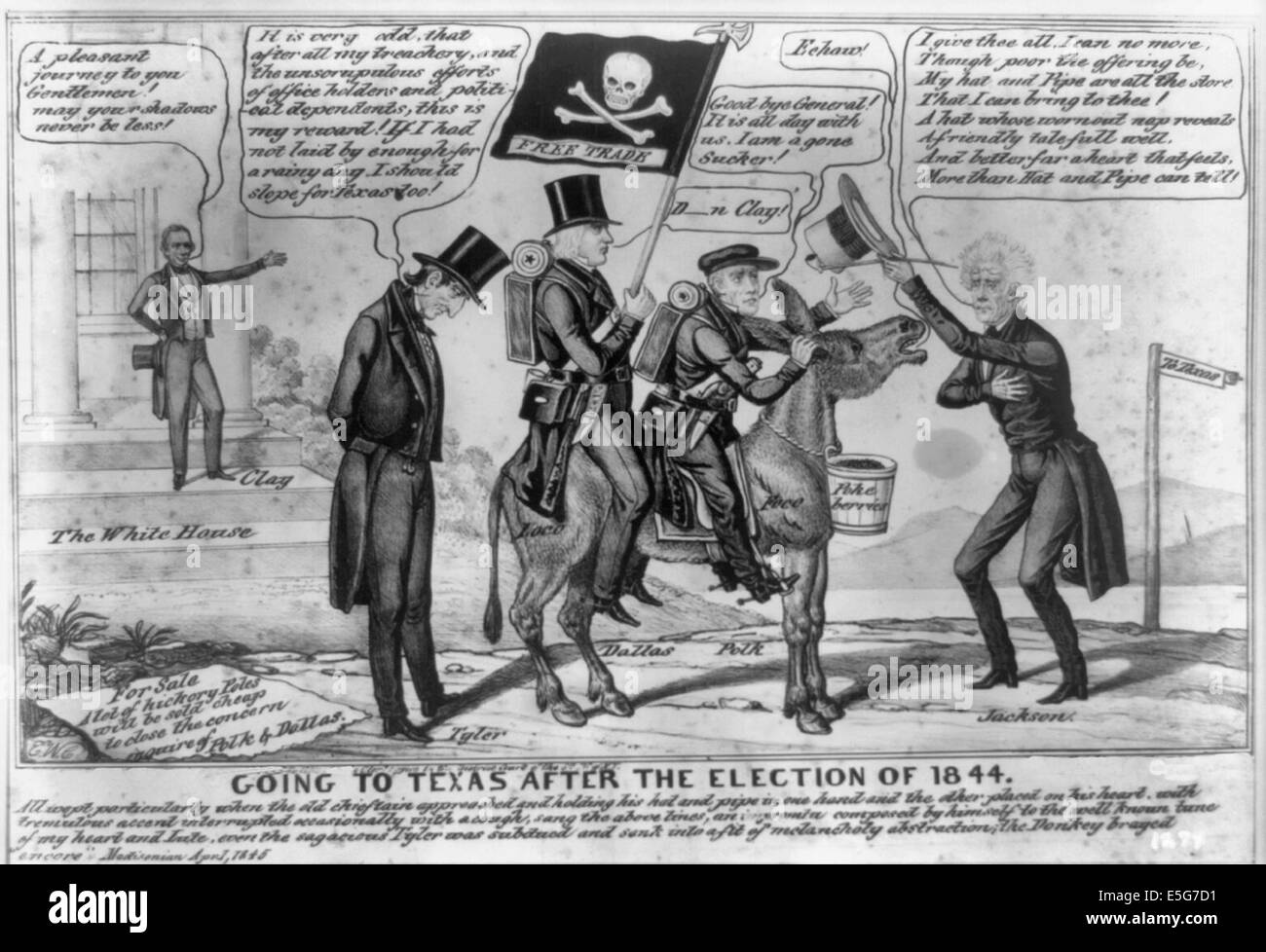 Going to Texas after the election of 1844 - A comic scene anticipating a Whig victory in the upcoming presidential - Stock Image