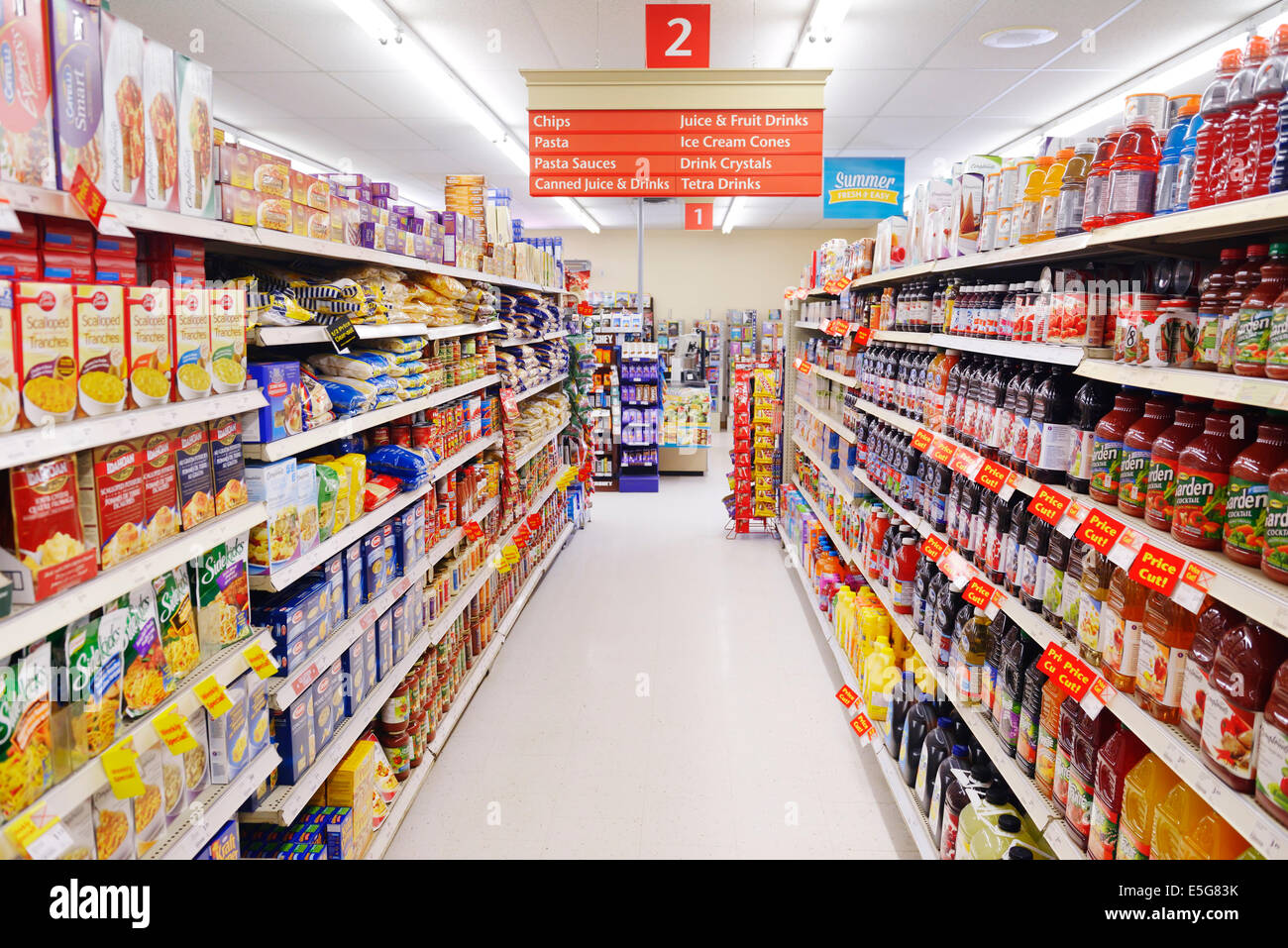 Juices supermarket stock photos juices supermarket stock images supermarket aisle with juices and pasta on the shelves ontario canada stock image malvernweather Gallery