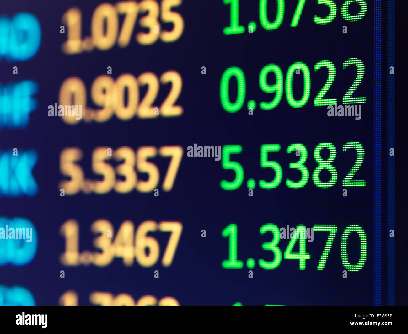 Abstract numbers on electronic display, Forex currency exchange rates - Stock Image