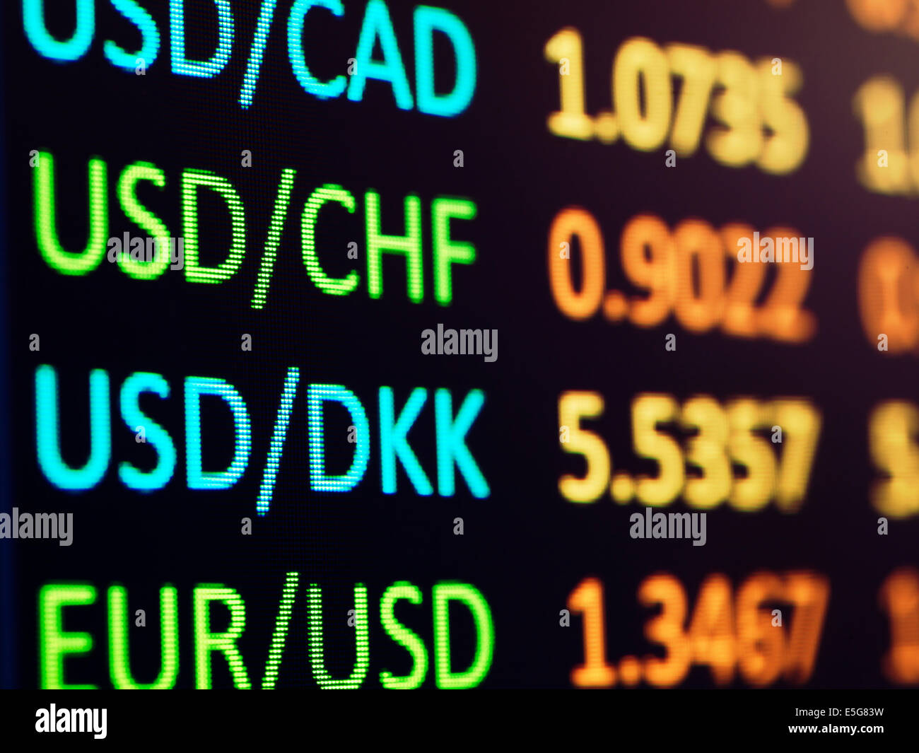 Forex currency exchange rates on electronic display closeup - Stock Image