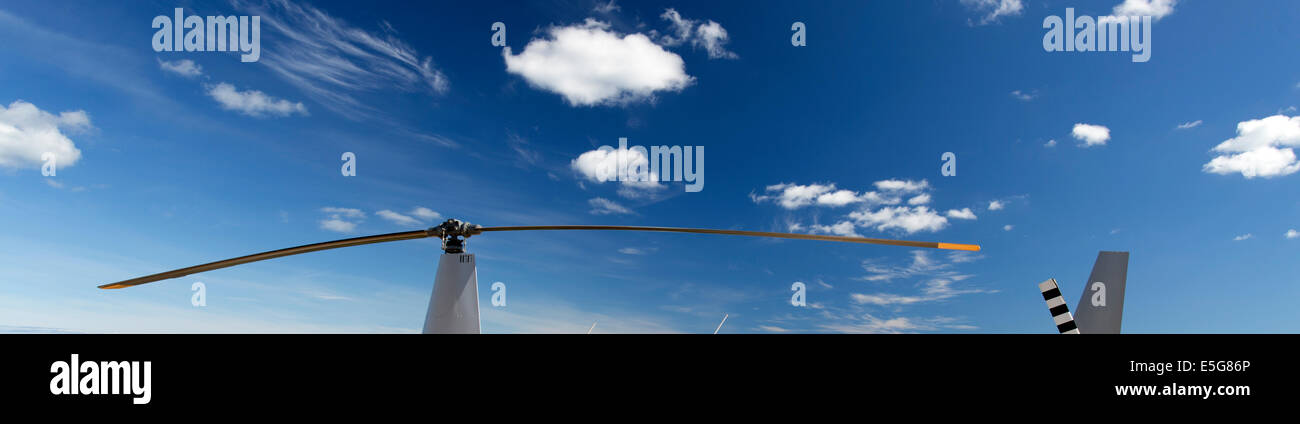 View of the two blades of a helicopter main rotor - Stock Image