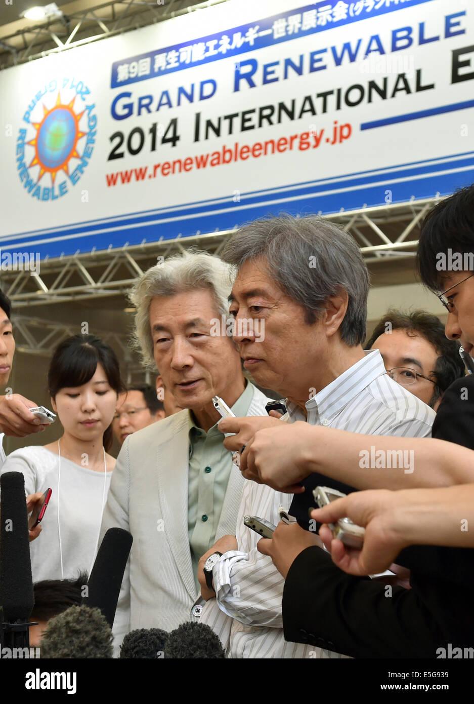 July 31, 2014, Tokyo, Japan - Japan's former Prime Ministers Junichiro Koizumi, left, and Morihiro Hosokawa, - Stock Image