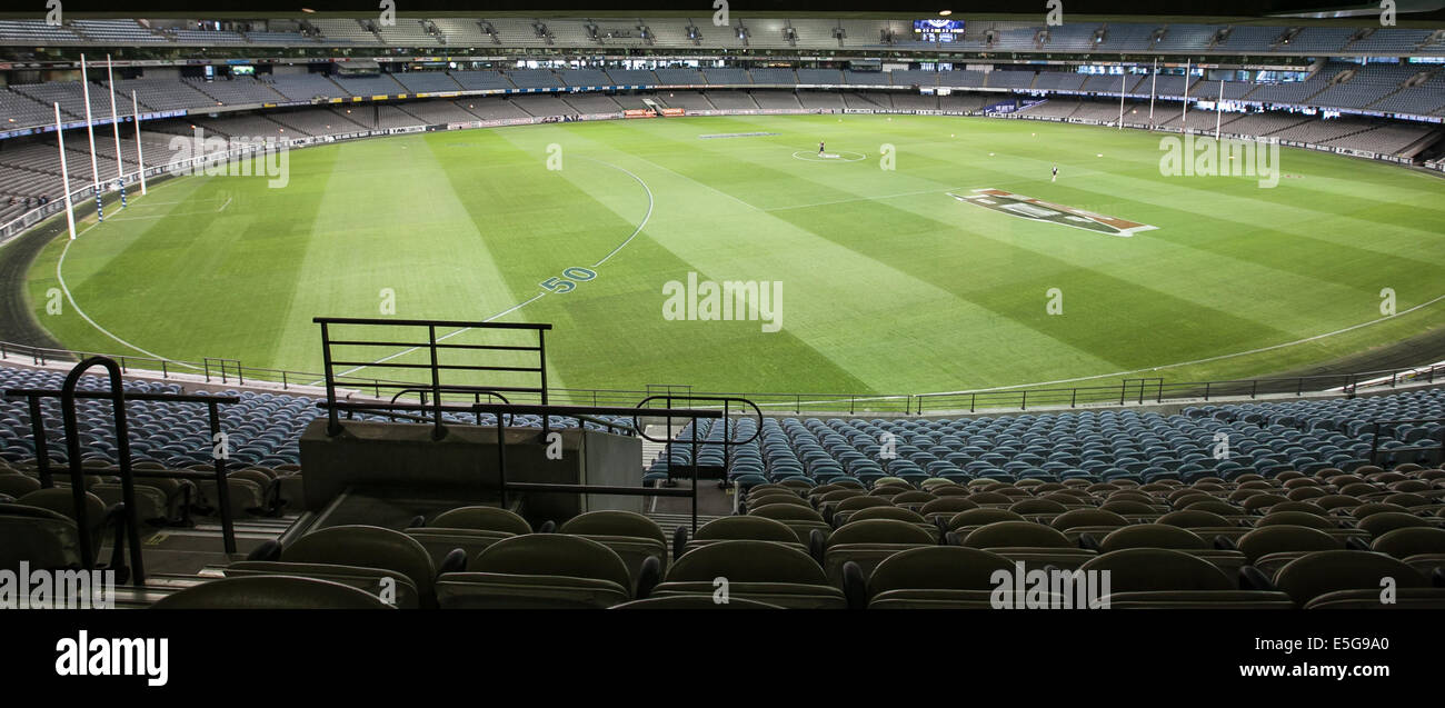 View of the AFL pitch at Etihad Stadium, Melbourne - Stock Image