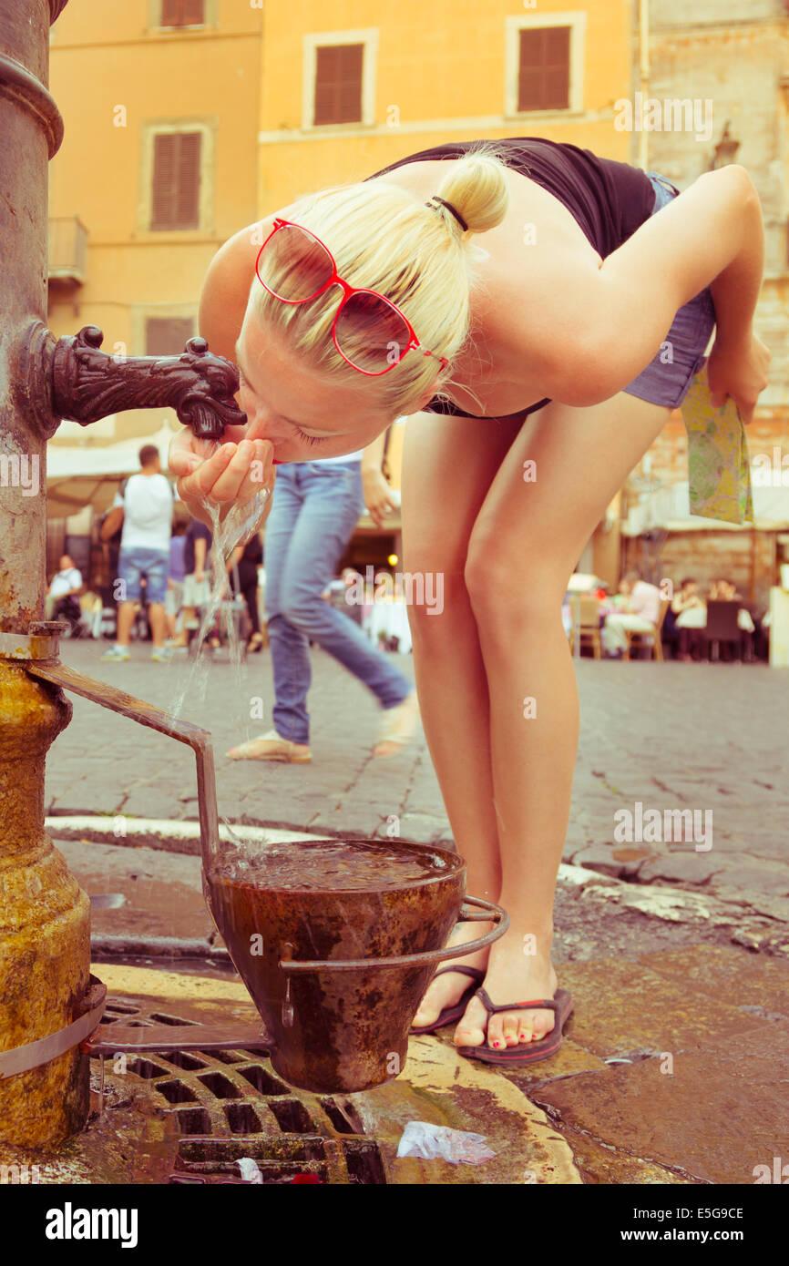 Woman drinking water. Stock Photo