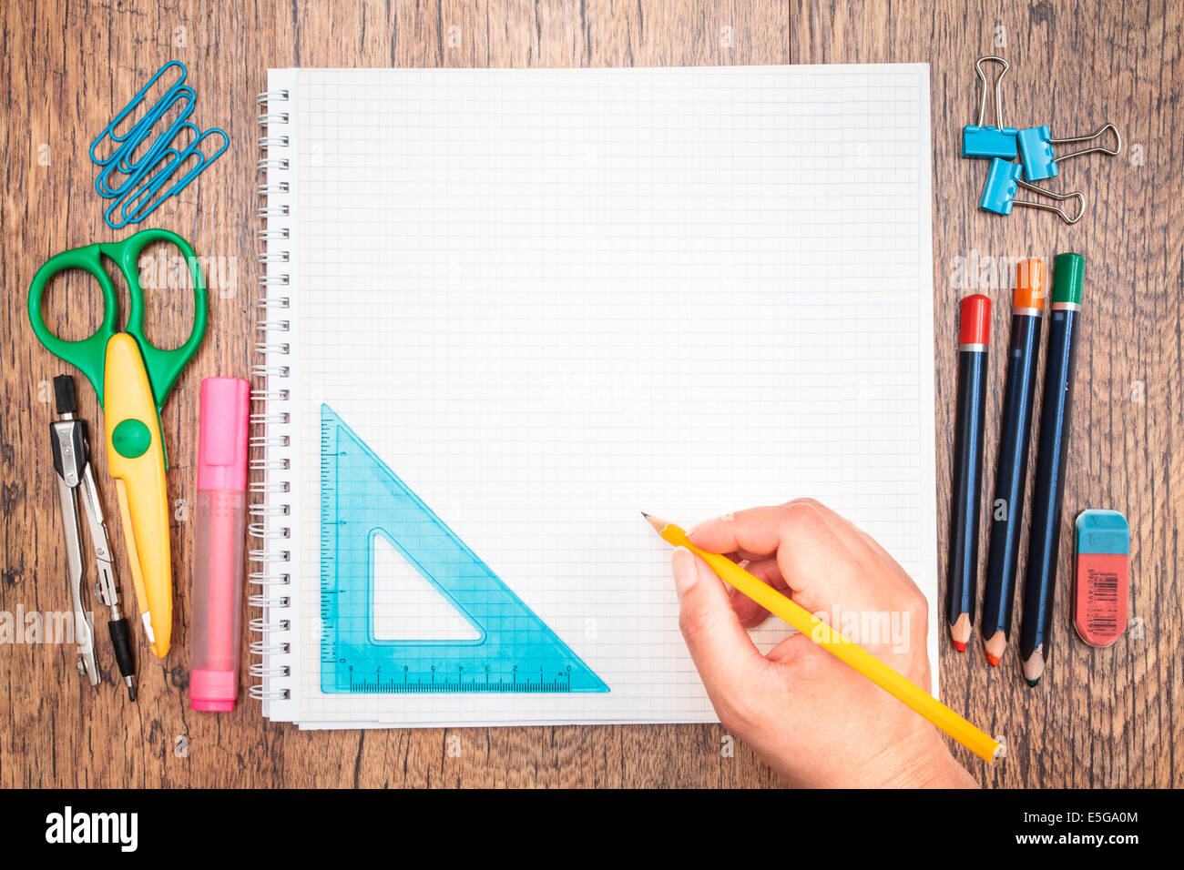 Top View Of School Accessories On A Desk   Stock Image