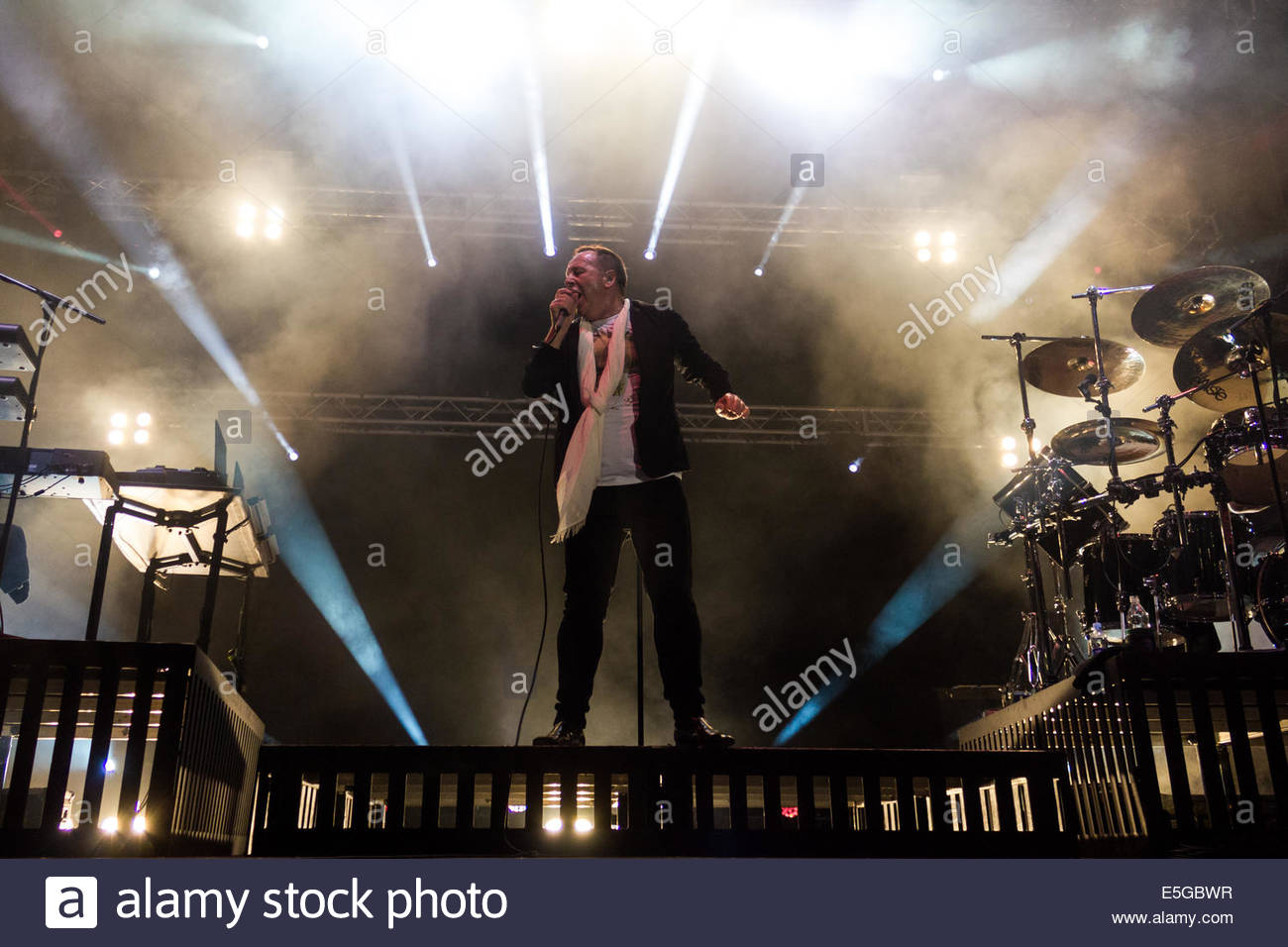 Turin, Italy. 30th July, 2014. Scottish rock band Simple Minds, headed by lead singer Jim Kerr performed live during - Stock Image