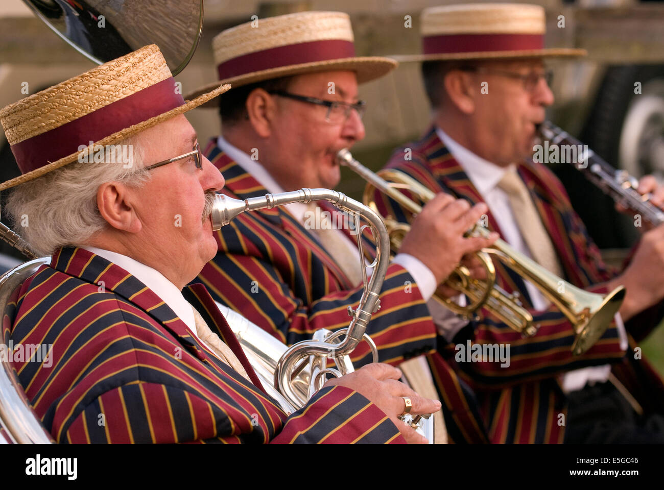 Jazz band entertaining the crowds at a fundraising event for local charities, Churt, near Farnham, Surrey, UK. - Stock Image