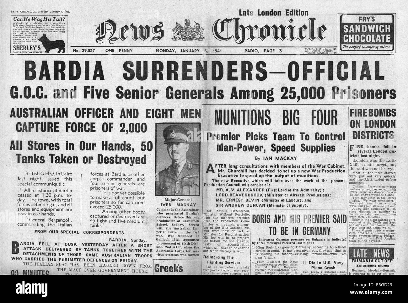 Image result for Italians defeated in abyssinia 1941 - newspaper headlines