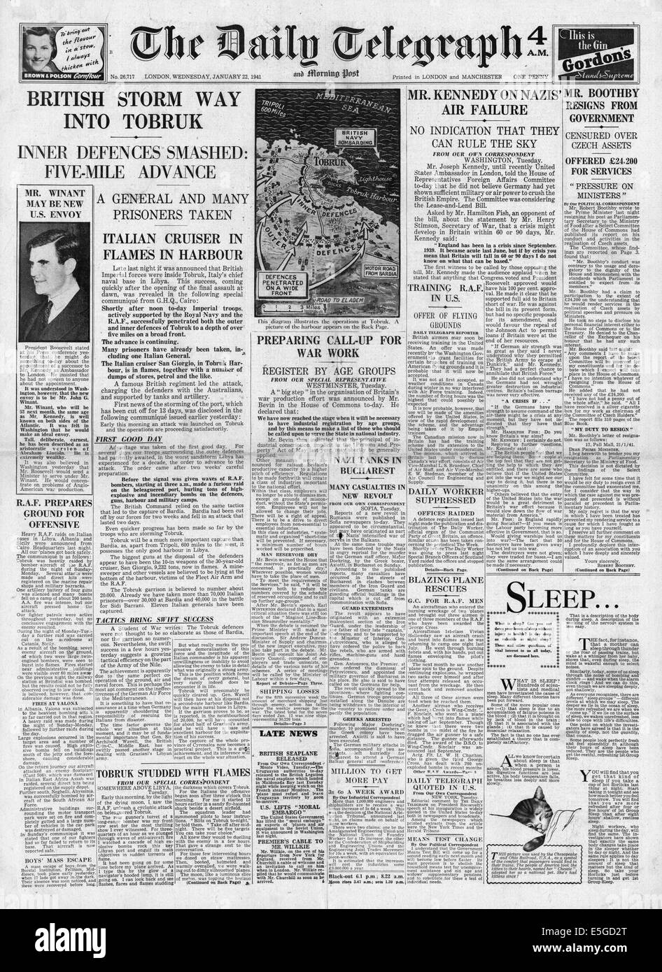 1941 Daily Telegraph reporting front page British Army enter Tobruk - Stock Image