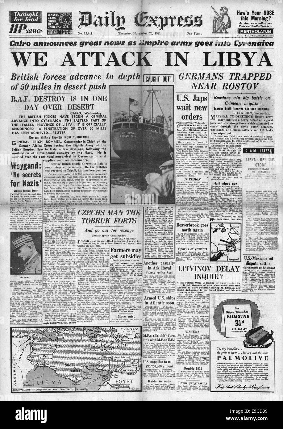 1941 Daily Express front page reporting British 8th Army attack in Libya - Stock Image
