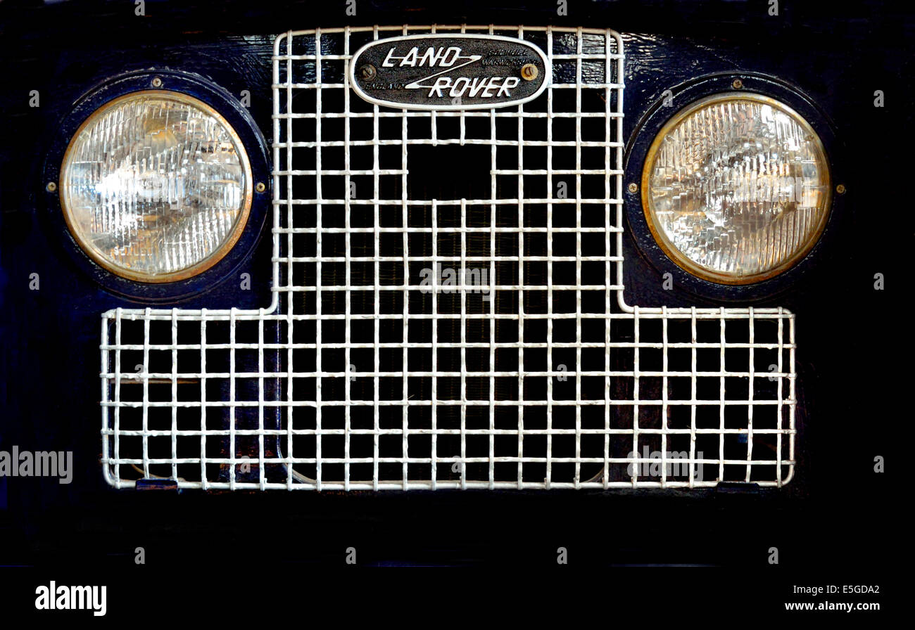 Chatham, Kent, England, UK. Land Rover headlights and grill in the Chatham Historic Dockyard collection - Stock Image