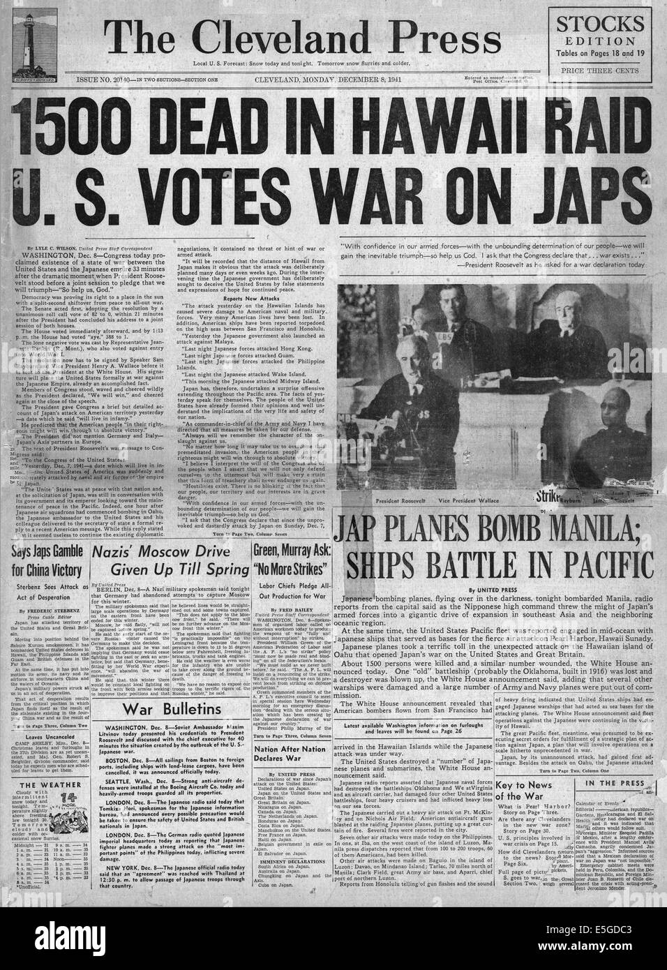 1941 The Cleveland Press front page reporting Japanese