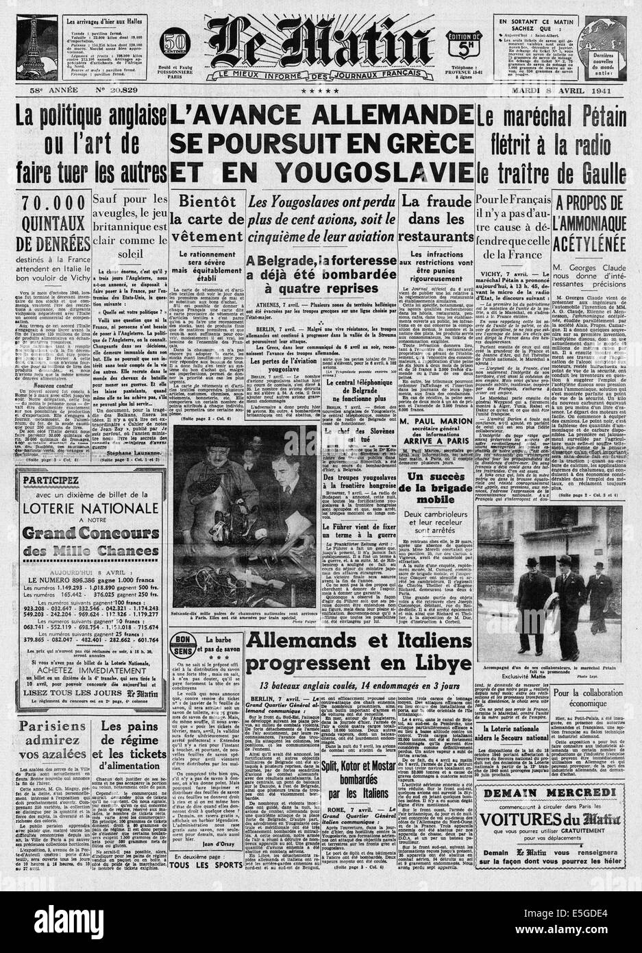 1941 Le Matin (France) front page reporting Germany invades Greece & Yugoslavia Stock Photo