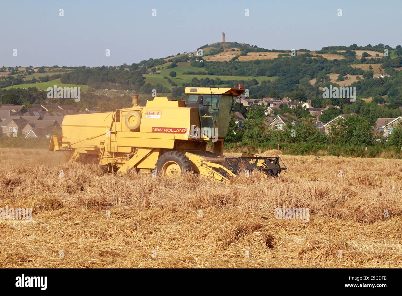 Combine harvester in crop field Honley Holmfirth West Yorkshire England UK - Stock Image