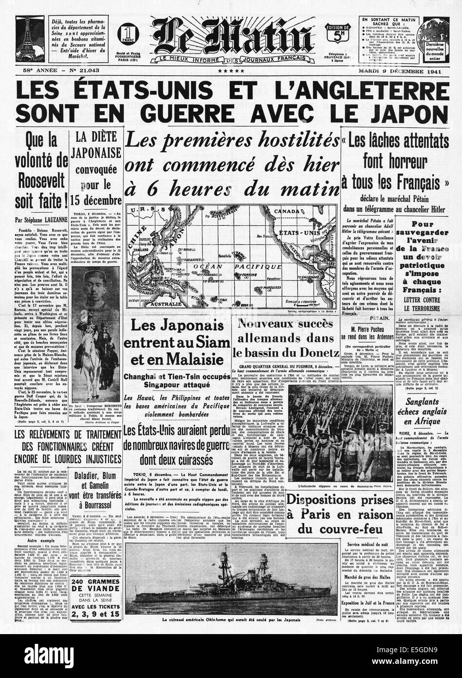 1941 Le Matin (France) front page reporting Britain and USA declare war on Japan Stock Photo