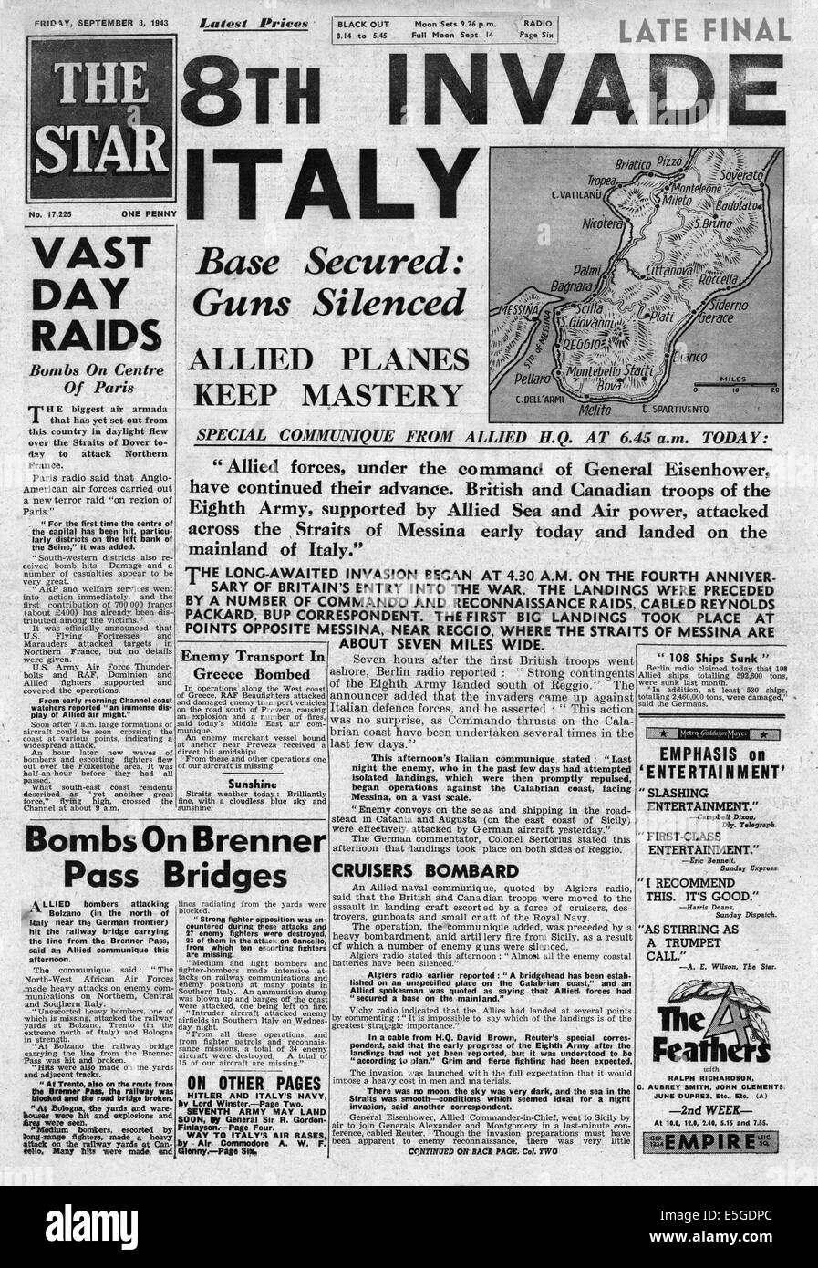 1943 The Star (London) front page reporting British 8th Army invading mainland Italy - Stock Image