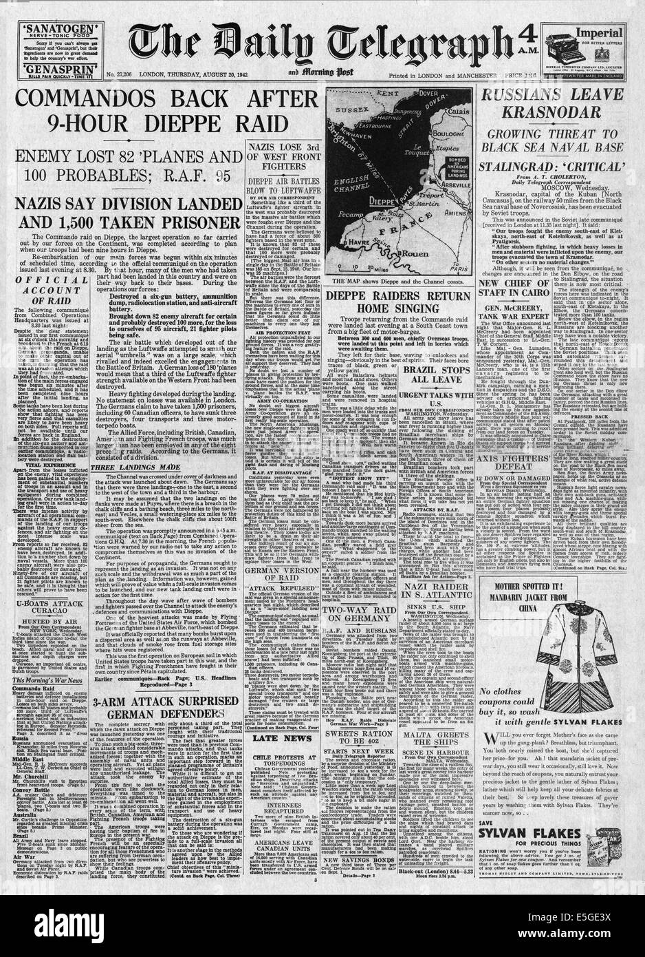 1942 Daily Telegraph front page reporting British Commandos raid Dieppe - Stock Image