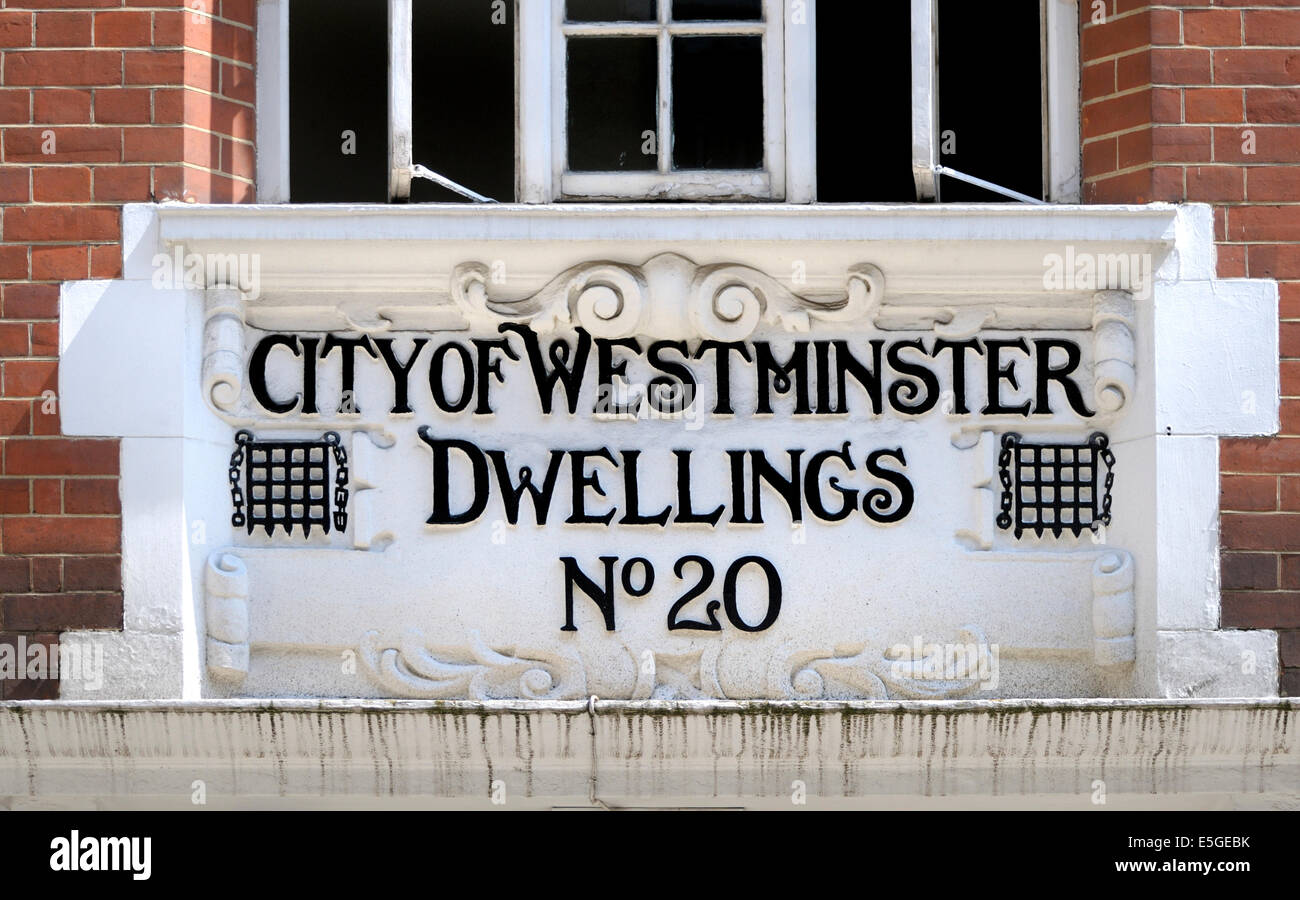 London, England, UK. City of Westminster Dwellings at No 20 Marshall Street, near Foubert's Place - Stock Image